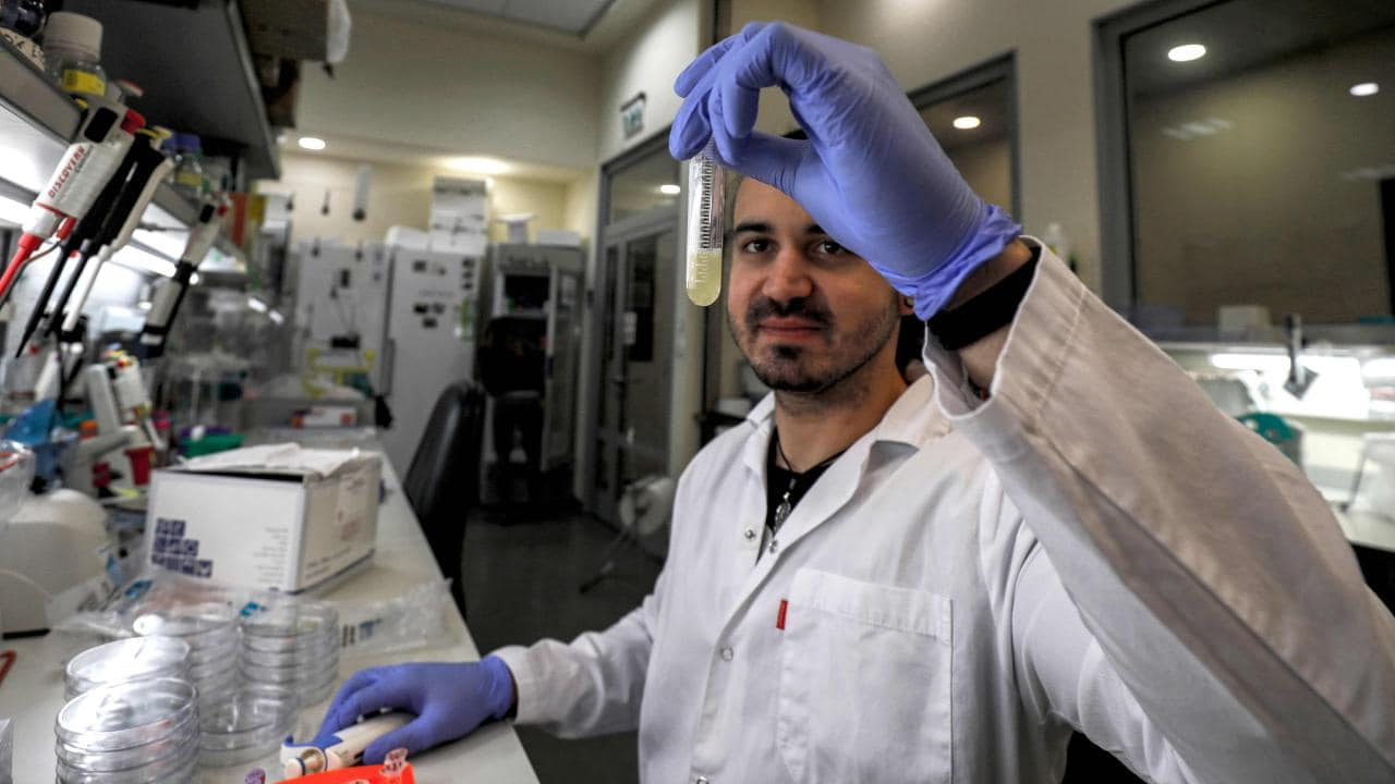 A scientist at the MIGAL Research Institute in northern Israel, where work is under way to find a COVID-19 vaccine. Picture: AFP