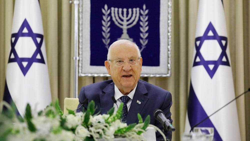 Israeli President Reuven Rivlin speaks during consultations with party representatives on who might form the next coalition government, at the President's residence in Jerusalem, Monday, April 5, 2021. (Amir Cohen/Pool Photo via AP)