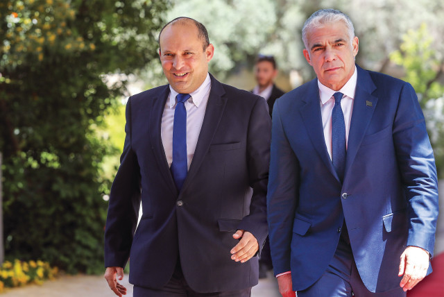 Yesh Atid leader Yair Lapid and Yamina leader Naftali Bennett arrive at the President's Residence this week (composite photo. photo credit: MARC ISRAEL SELLEM/THE JERUSALEM POST)