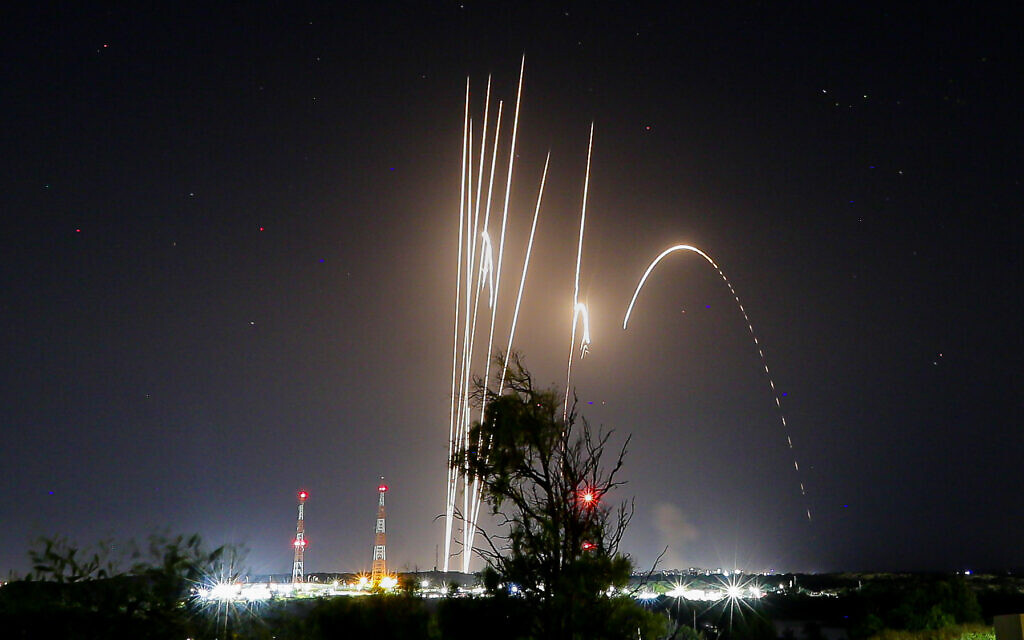Rockets seen fired from the Gaza strip, into Israel on May 12, 2021. Photo by Edi Israel/Flash90